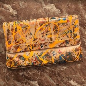 Handbags - Vintage leather hand painted clutch